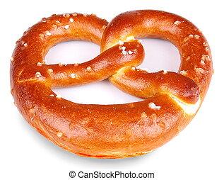 굽, pretzel, 신선하의, 고립된