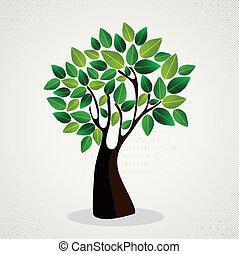 귀여운, 개념, 디자인, 나무
