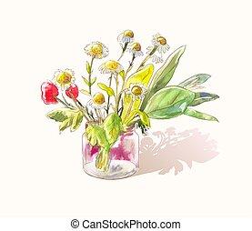 귀여운, 거의, 꽃다발, wildflowers., 명란한, 밑그림, 수채화 물감, 벡터, poppies., 데이지