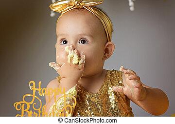 귀여운, 거의, 생일 소녀, 경축하는