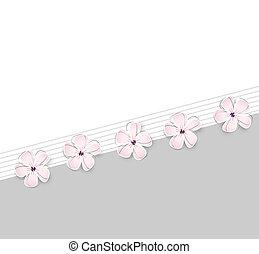 귀여운, 꽃, 배경, 봄