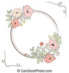 귀여운, 꽃, bouquet., 삽화, 벡터, 월계수, 카드