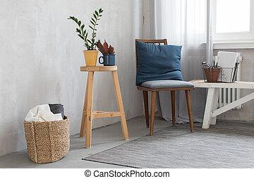 귀여운, 내부, 와, 의자