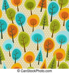 귀여운, 다색이다, 숲, 패턴