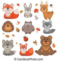 귀여운, 만화, 세트, 숲, animals.
