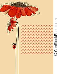 귀여운, 무당벌레, 우아한, 벡터, 꽃, 카드
