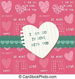 귀여운, 사랑, 카드, -, 치고는, 발렌타인 데이, scrapbooking, 에서, 벡터