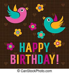 귀여운, 생일, 새, 카드, 행복하다