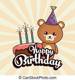 귀여운, 생일 카드, 곰, 행복하다
