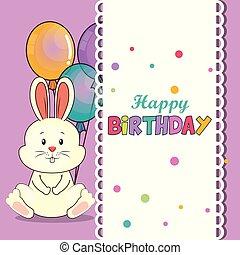 귀여운, 생일 카드, 토끼, 행복하다