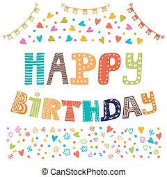 귀여운, 성분, 혼자서 젓는 길쭉한 보트, 인사, 디자인, birthday., 카드, 행복하다