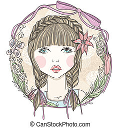 귀여운, 소녀, 꽃