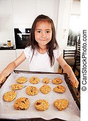귀여운, 소녀, 빵 굽기, 나이 적은 편의, 쿠키