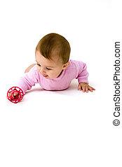귀여운, 아기, 노는 것, 와, 장난감