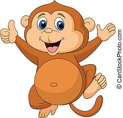 귀여운, 원숭이, 만화, 위로 엄지손가락