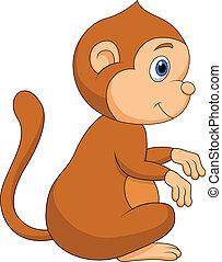 귀여운, 원숭이, 만화, 착석