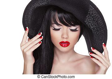 귀여운, 유행, nails., 아름다움, hat., 모델, 고립된, 길게, 매니큐어를 칠하게 된다, 머리, 배경., 입술, 성적 매력이 있는, 검정, 인력이 있는, 폴란드어, 초상, 소녀, 하얀 빨강