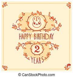 귀여운, 인사, 생일, 벡터, 초대, rabbit., 행복하다, 카드, design.