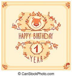 귀여운, 인사, 생일, 벡터, bear., 초대, 행복하다, 카드, design.