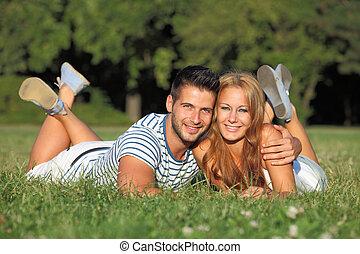 귀여운, 젊음 한 쌍, 있는 것, 에서, a, 공원