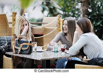 귀여운, 커피, 술을 마시는 것, 미소, 여자