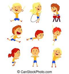 귀여운, 키드 구두, 다채로운, set., 은 활동을, 삽화, 미소, 노는 것, 만화