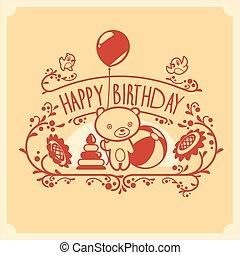 귀여운, 테디, 인사, 생일, toys., 벡터, 곰, 초대, 행복하다, 카드, design.
