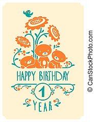 귀여운, 테디, 3, 생일, 인사, 벡터, 초대, bears., 행복하다, 카드, design.