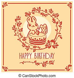 귀여운, 토끼, 행복하다, 인사, 생일, 벡터, 초대, design., 생쥐, 카드, cake.