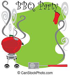 귀여운, 파티, bbq, 초대