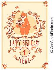 귀여운, 행복하다, 인사, 생일, 벡터, 곰, 초대, cake., 카드, design.