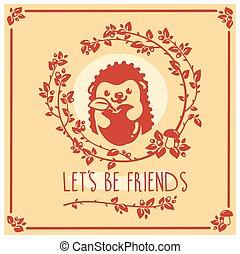귀여운, apple., 인사, 벡터, 초대, 고슴도치, 카드, design.