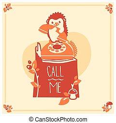 귀여운, hedgehog., 인사, 벡터, 본뜨는 공구, 초대, 카드, design.