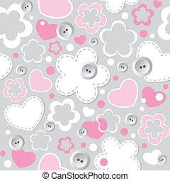 귀여운, seamless, 패턴