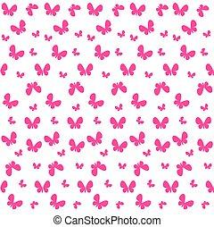 귀여운, seamless, 패턴, 와, 나비