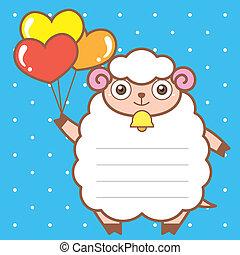 귀여운, sheep, 의, 스크랩북, 배경