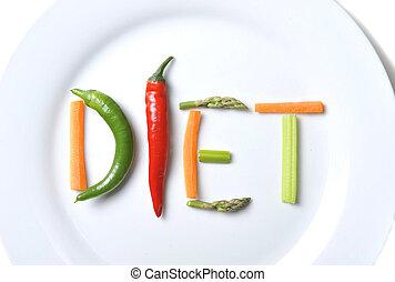 규정식, 써진다, 와, 야채, 에서, 건강한, 영양, 개념