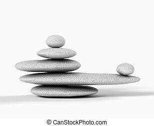 균형을 잡게 된다, 회색, 돌