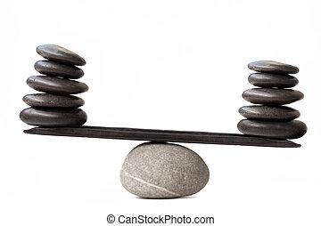 균형을 잡음, 돌
