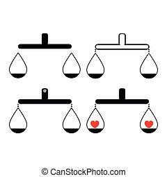 균형, 또는, 천칭자리, 세트, 것 품목, 와, 심장, 검정, 색