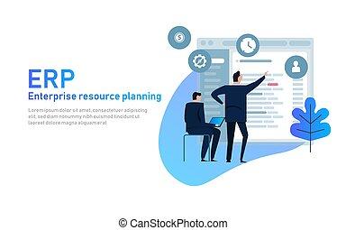그것, 매니저, 통하고 있는, erp, 기업, 자원, 계획, 스크린, 와, 사업, 정보, 생산, hr, 와..., crm, modules