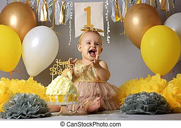 그녀, 경축하는, 생일, 아기, 미소 짓고 있는 소녀, 처음