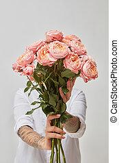 그녀, 고립된, 배경., 손을 잡는 것, 소녀, 꽃, 백색