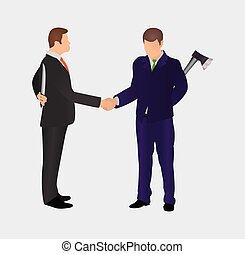 그들, 사람., 은 파트너가 된다, 생각, 경쟁, 2, 사이의, 충돌, worker., 손, 보유, 동요, 나쁘다, &, 남아서, 사업, 무기, confrontation., backs., 개념