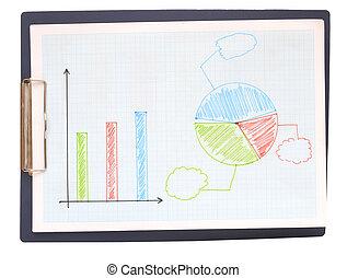 그래프, 그어진, 얼마 만큼, 전해라, 종이, 그래프, 배경
