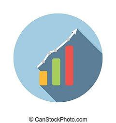 그래프, 도표, 바람 빠진 타이어, 아이콘