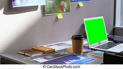 그래프, 도표, 와..., 휴대용 퍼스널 컴퓨터, 책상에, 에서, 사무실, 4k