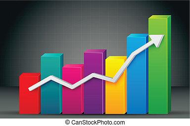 그래프, 막대기, 다채로운