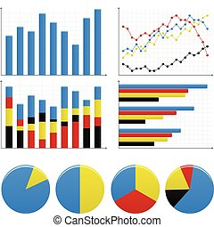 그래프, 막대기, 파이 도표