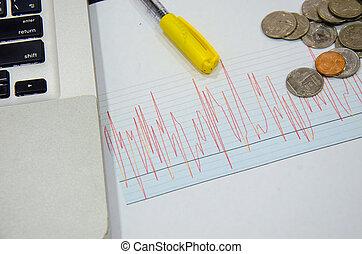 그래프, 선, 은 화폐로 주조한다